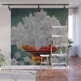 WHITE POINSETTIAS IN A BOWL Wall Mural