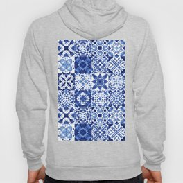 Indigo Watercolor Tiles Hoody
