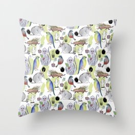 Seamless pattern with the monkey, Bilby, parrot, cactus, bird, porcupine. Jungle style. Summer backg Throw Pillow