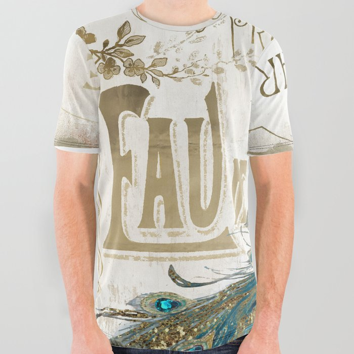 Peacock Jewels All Over Graphic Tee