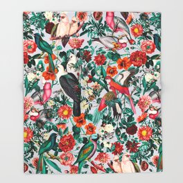 FLORAL AND BIRDS XIV Throw Blanket