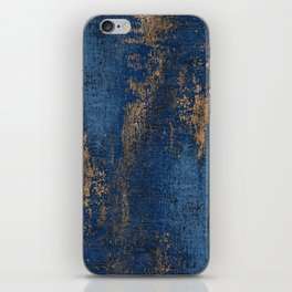NAVY BLUE AND GOLD PATTERN iPhone Skin