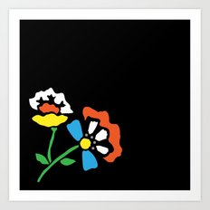 Cutout Flowers on Black Art Print