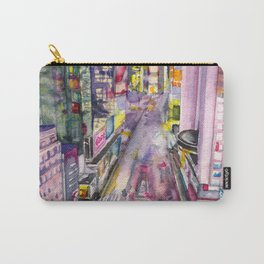 Locomotion, hand painted watercolor print of New York's Time Square at Nights Carry-All Pouch