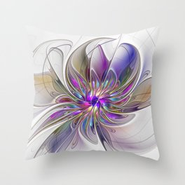 Energetic, Abstract And Colorful Fractal Art Flower Throw Pillow