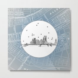 Pittsburgh, Pennsylvania City Skyline Illustration Drawing Metal Print