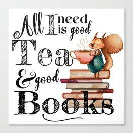 Tea & Books Canvas Print