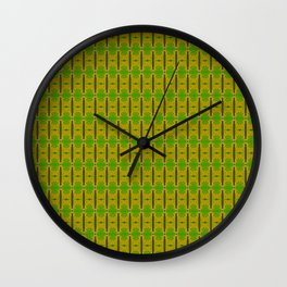 Heliconia Green Gold Stalks Pattern Wall Clock