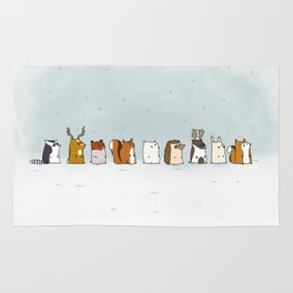 Winter forest animals Rug