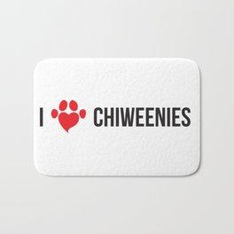 I LOVE CHIWEENIES Bath Mat
