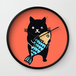 kitty with fish Wall Clock