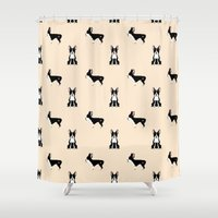 terrier Shower Curtains featuring Boston Terrier by Luiza Sequeira