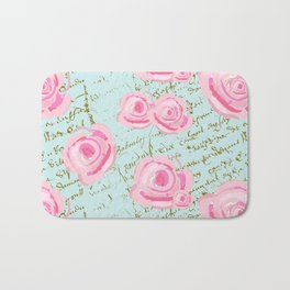 Pink  Roes and French Script Bath Mat