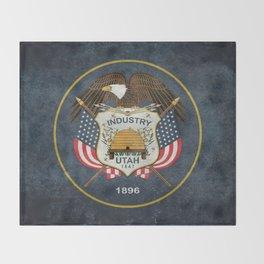 Utah State Flag in vintage retro style Throw Blanket