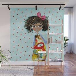Red Bird Pet Doll Grungy Polka Dots Wall Mural