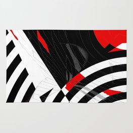 black and white meets red Version 8 Rug
