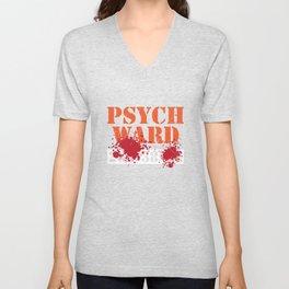 Psych Ward Patient T-Shirt Blood Splatter Scary Asylum Tee Unisex V-Neck