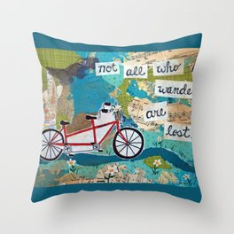 Not all who Wander are Lost - Red Tandem Bicycle Throw Pillow