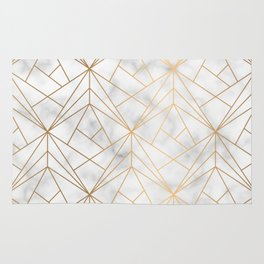 Geometric Gold Pattern on Marble Texture Rug