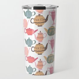 Vintage Tea Pots Time for Tea Multi on White Art Throw Pillow Travel Mug