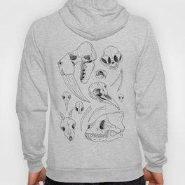 Black and White Hand Drawn Animal Skulls Print Hoody