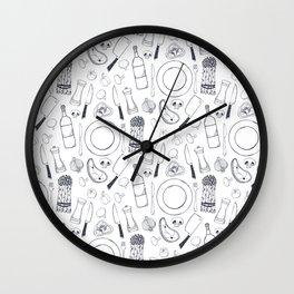 Black hand drawn ratatouille sketched pattern Wall Clock
