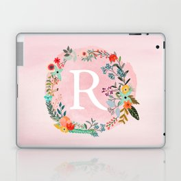 Flower Wreath with Personalized Monogram Initial Letter R on Pink Watercolor Paper Texture Artwork Laptop & iPad Skin