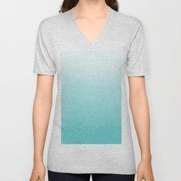 Modern teal watercolor gradient ombre brushstrokes pattern Unisex V-Neck