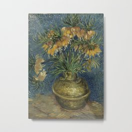 Crown Imperials in a Copper Vase Metal Print