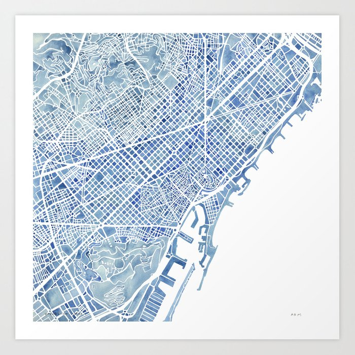Barcelona blueprint watercolor city map art print by aemcdraw society6 barcelona blueprint watercolor city map art print malvernweather Gallery