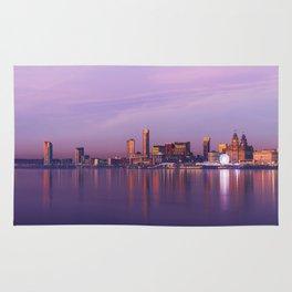 Liverpool Port Night Lights Sunset Panorama United Kingdom Rug
