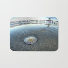 Chris Harsh Photos * A Low Tide Sand Dollar * Huntington Beach Pier  Bath Mat