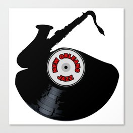 New Orleans Jazz Music Silhouette Record Canvas Print