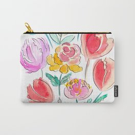 June Watercolor Flowers Carry-All Pouch