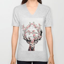 Deer and Flowers Unisex V-Neck