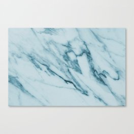 Streaked Teal Blue White Marble Canvas Print
