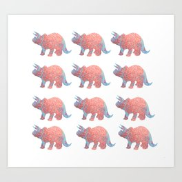 Pastel Blue and Copper Glitter Dinosaur Art Print