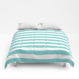Horizontal Aqua Stripes Comforters