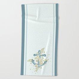 Blue anchor and flowers Beach Towel