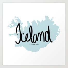 Iceland love Art Print