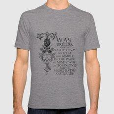 Alice In Wonderland Jabberwocky Poem Mens Fitted Tee Tri-Grey 2X-LARGE