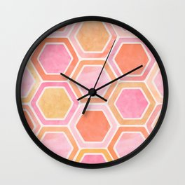 Desert Mood II - Watercolor Hexagon Pattern Wall Clock