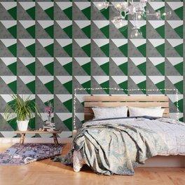 Concrete Festive Green White Wallpaper