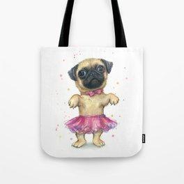 Pug in a Tutu Cute Animal Whimsical Dog Portrait Tote Bag
