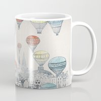 buildings Mugs featuring Voyages over Edinburgh by David Fleck