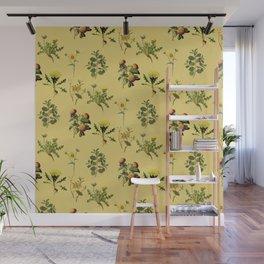 Wild Forest & Field Yellow Flower Herb Pattern Wall Mural