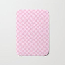 Pink Lace Pink and Cotton Candy Pink Checkerboard Bath Mat