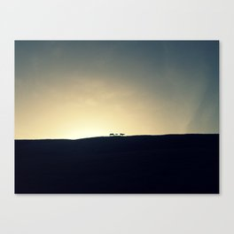 Sunset with horses Canvas Print