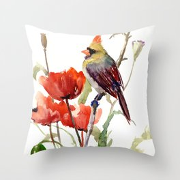 Cardinal And Poppy Flowers Throw Pillow