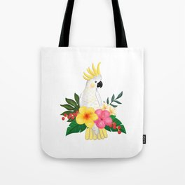 Tropical Cockatoo Floral Watercolor Tote Bag